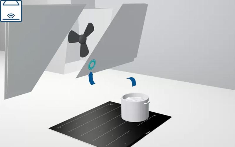 Bếp từ Bosch PXY875KW1E kết nối bếp với hút