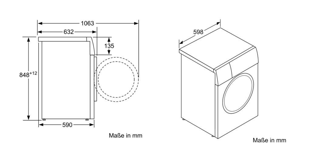 Kích thước Máy giặt Bosch WAV28E43