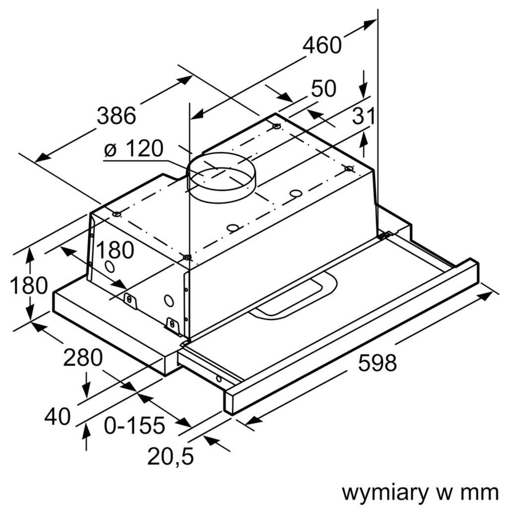 Kích thước Máy hút mùi Bosch DFT63AC50