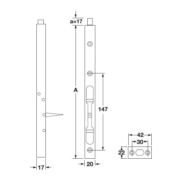 Kích thước Chốt âm 200mm Hafele 911.62.182