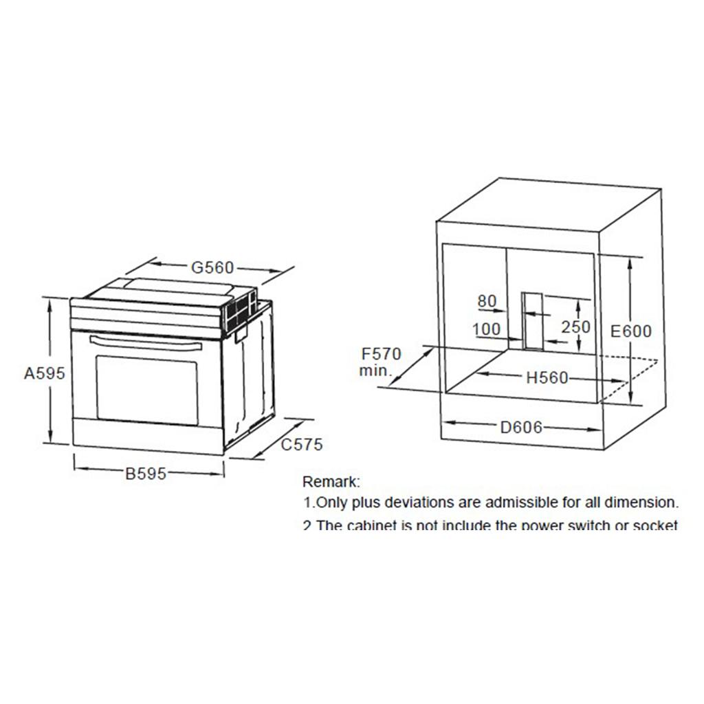 Kích thước lò nướng âm tủ Hafele HO-6T70A 538.01.441