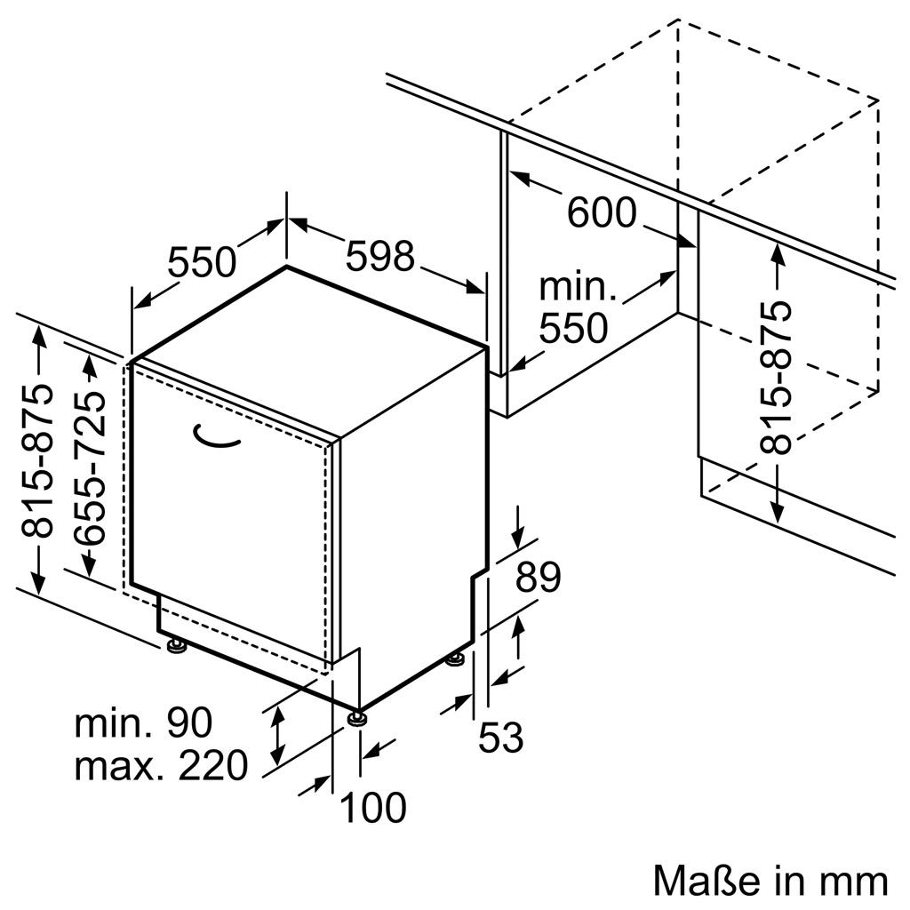 Kích thước Máy rửa chén Bosch SMV8YCX03E