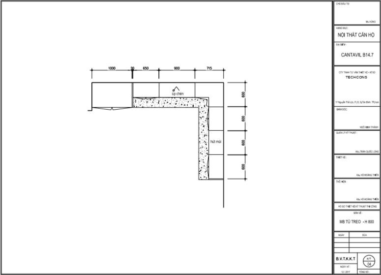 Công trình thiết kế và thi công bếp chung cư Catavil quận 2, TP HCM