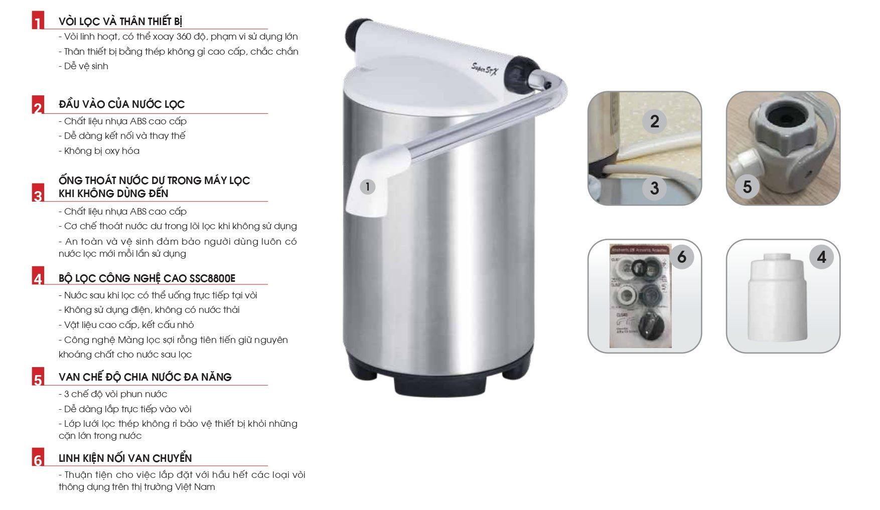 Thiết bị lọc nước lắp trên bồn rửa SSX880E/ ET201