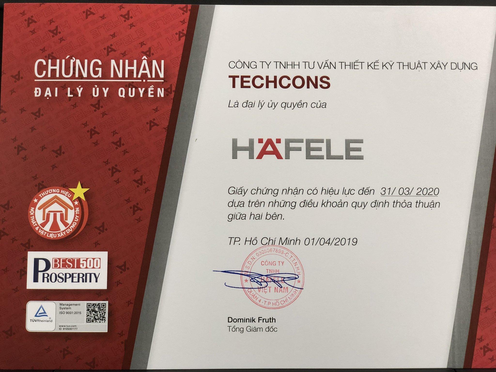 Giấy chứng nhận phân phối các sản phẩm của Hafele Việt Nam
